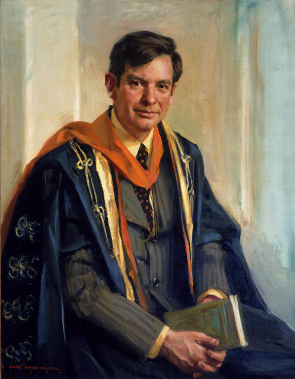 A 1976 portrait of Princeton President William G. Bowen, by Everett Raymond Kinstler.