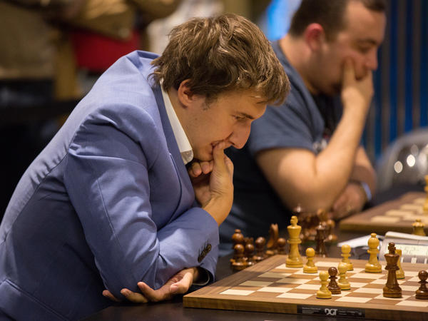 Sergey Karjakin, of Russia, will meet Norway's Magnus Carlsen in New York City in November to determine the next world chess champion. Carlsen is defending his title.