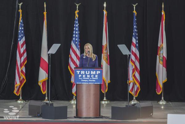 Florida Attorney General Pam Bondi spoke at the Donald Trump rally Monday night in Tampa.