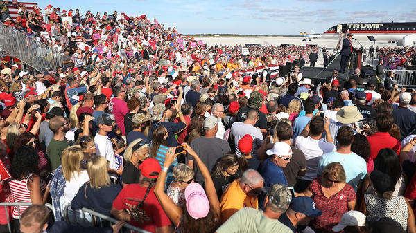 Donald Trump speaks during a campaign rally Tuesday at the Million Air Orlando, at Orlando Sanford International Airport in Sanford, Fla. Trump has spent the past several days campaigning across Florida.