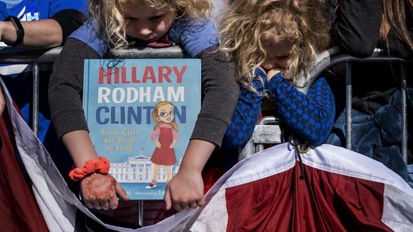 Young supporters wait to meet Hillary Clinton at a rally at Saint Anselm College in Manchester, N.H., on Monday.