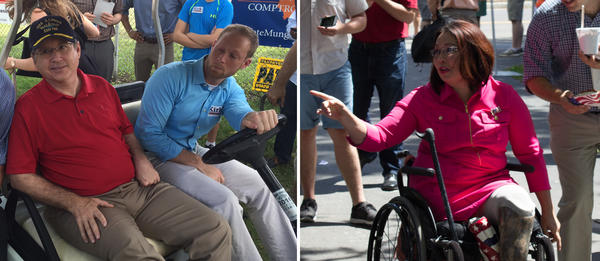 Republican Sen. Mark Kirk and Democratic U.S. Rep. Tammy Duckworth are seen arriving for party rallies at the Illinois State Fair.