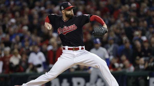 The Cleveland Indians defeated the Chicago Cubs 6-0 in Game 1 of the World Series, building on a dominant performance by starting pitcher Corey Kluber.