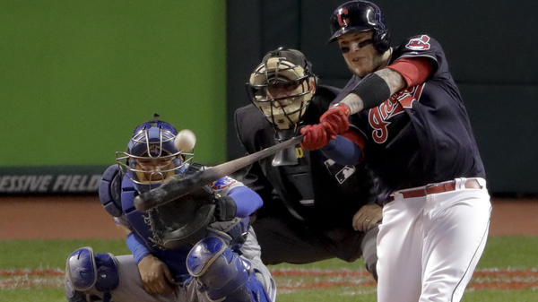 Cleveland's Roberto Perez hit two home runs in the Indians' 6-0 win over the Chicago Cubs in Game 1 of the World Series.