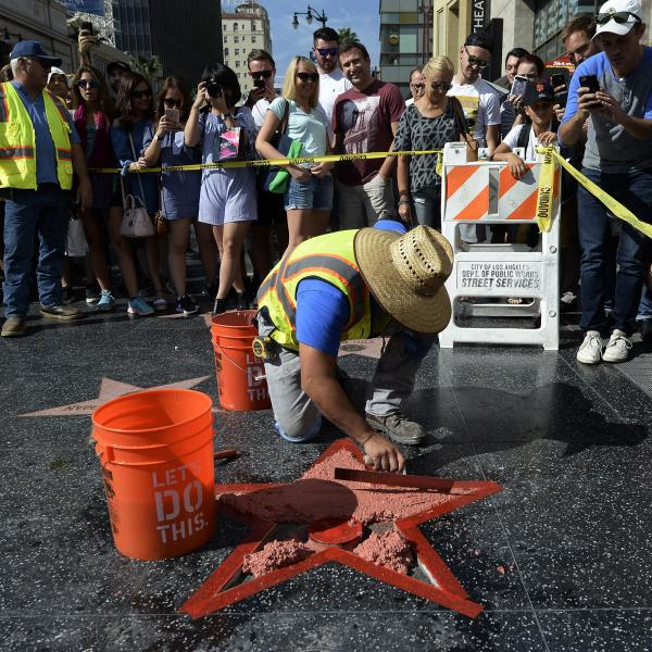 Donald Trump's Hollywood Walk Of Fame star was repaired quickly after it was vandalized Wednesday.