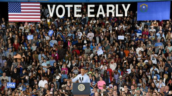 President Barack Obama speaks during a campaign rally for Democratic presidential nominee Hillary Clinton at Cheyenne High School on Oct. 23 in North Las Vegas, Nev.