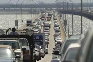 Bumper to bumper traffic in Tampa Bay
