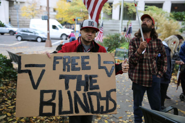 "<p>Puyallup, Washington, resident Brian Edgin says ""it's a sad day in America when our own government doesn't support the Constitution of America.""</p>"