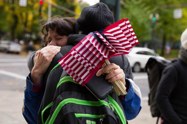 <p>Maureen Valdez, left, from Beaverton and Dory Borck from Portland, both supporters of the occupation, embrace following the deliverance of a not guilty verdict for all defendants in the occuption of the Malheur National Wildlife Refuge.</p>