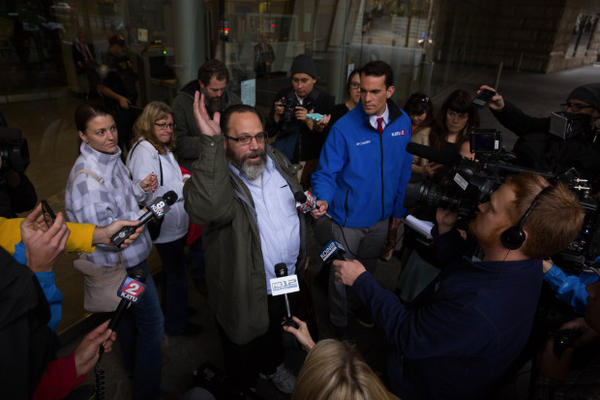 <p>Occupation supporter Rick Koerber speaks to media outside the federal courthouse in Portland.</p>