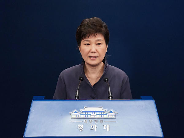In this handout photo released by the South Korean Presidential Blue House, South Korea's President Park Geun-Hye offers a public apology at the at the presidential blue house on October 25.