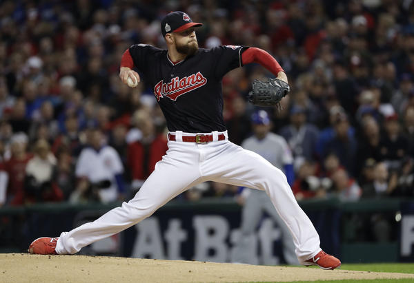 Cleveland Indians starting pitcher Corey Kluber throws against the Chicago Cubs during the first inning of Game 1 of the MLB World Series Tuesday.