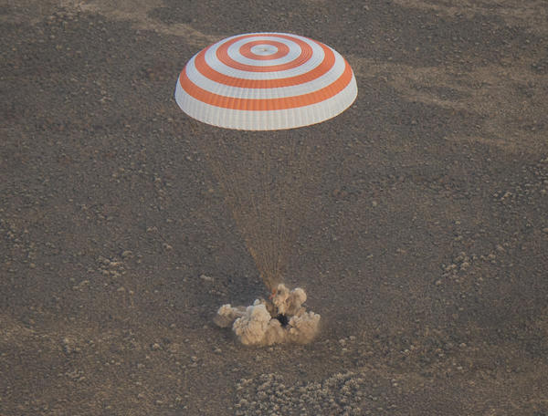 The Soyuz MS-01 spacecraft lands in Kazakhstan on Sunday.