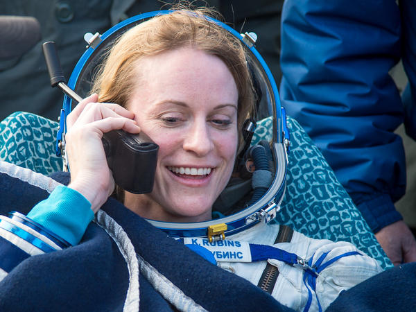 Astronaut Kate Rubins talks to her family via satellite phone shortly after she landed on earth after 115 days in space.
