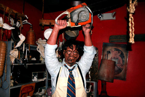 Leatherface and a scene from the Texas Chainsaw Massacre at Louis Tussaud's Palace of Wax.