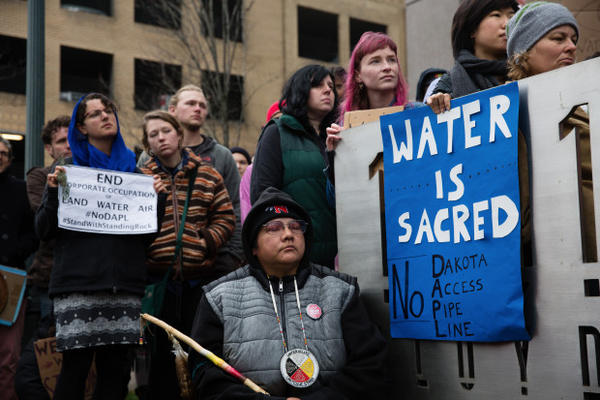 <p>The protesters drew connections between the Standing Rock Sioux's struggle with the Army Corps of Engineers over the Dakota Access Pipeline and local conflict over the management of the Columbia River hydro power dams.</p>