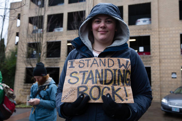 "<p>""I am here to stand in solidarity"" said Allison Corey. ""Water shouldn't be something we have to fight for.""</p>"