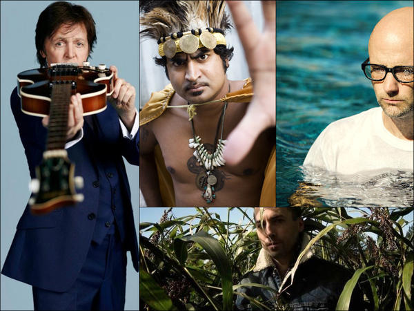 Clockwise from upper left: Paul McCartney, King Khan & The Shrines, Moby, Tim Hecker.