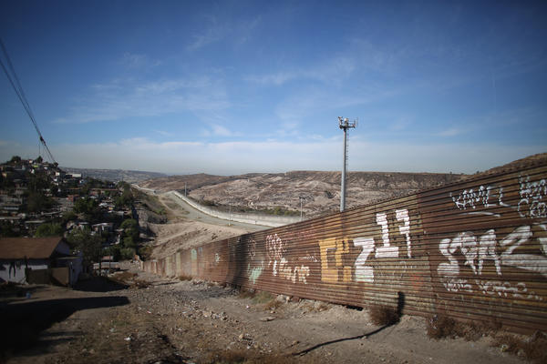 The fence that runs through eastern Tijuana, separating Mexico from the United States.