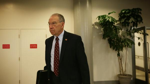 U.S. Sen. Chuck Grassley (R-IA) in the basement of the U.S. Capitol last April.