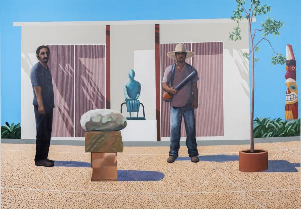 """Gardeners stand in for art collectors in Ramiro Gomez's riff on David Hockney's 1968 painting, <em>American Collectors (Fred and Marcia Weisman),</em> <strong><a href=""""http://www.artic.edu/aic/collections/artwork/102234"""">which you can see here.</a></strong>"""