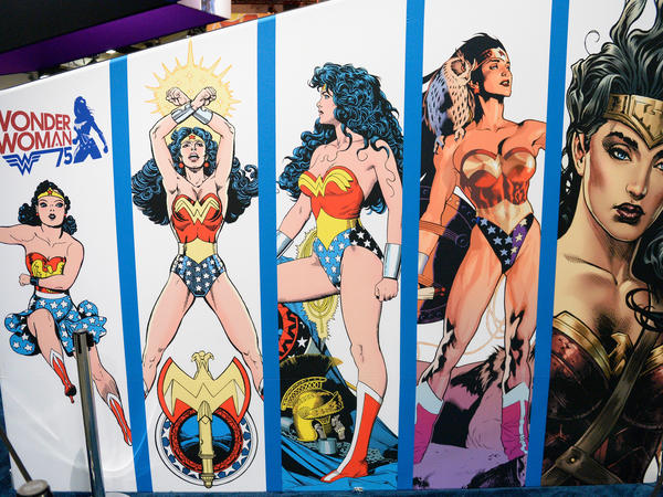 Wonder Woman display at Comic-Con International 2016 preview night on July 20, 2016 in San Diego, California.