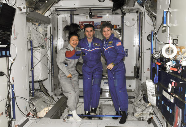 South Korean astronaut Soyeon Yi, seen here with Russian Federal Space Agency cosmonaut Yuri Malenchenko (middle) and NASA astronaut Peggy Whitson (right), prepared kimchi for her fellow space travelers aboard the International Space Station.