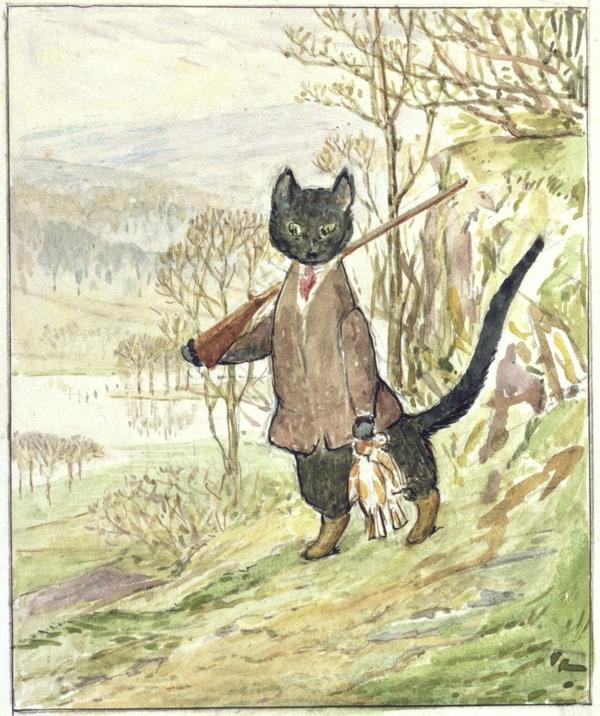 Beatrix Potter wrote three drafts of <em>The Tale of Kitty-in-Boots</em> and did one watercolor illustration (above). But the book was left incomplete when she died in 1943, and it is now being published posthumously, with illustrations by Quentin Blake.