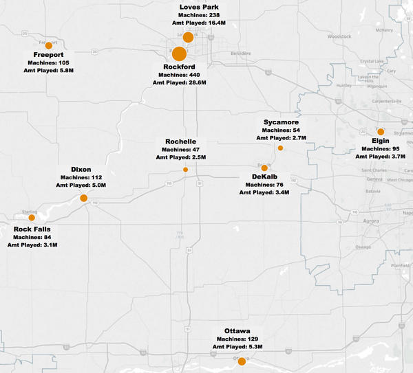 Snapshot of gaming machines and amount played in select northern Illinois communities in one month (June 2016)