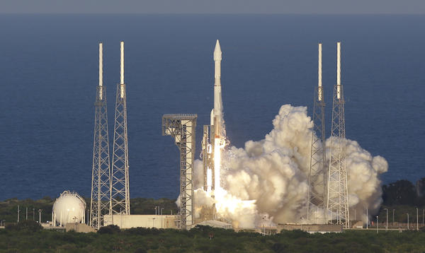 A rocket carrying the OSIRIS-REx spacecraft lifts off at the Cape Canaveral Air Force Station in Florida on Thursday. The spacecraft aims to collect samples from the asteroid Bennu.