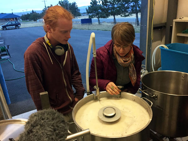 Tyler Watt and Megan Myers check the temperature of the wort they are making during a class at Central Washington University's Brewing Research Lab.