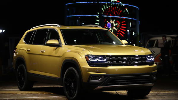 The 2018 Volkswagen Atlas is displayed at an unveiling event, in Santa Monica, Calif.