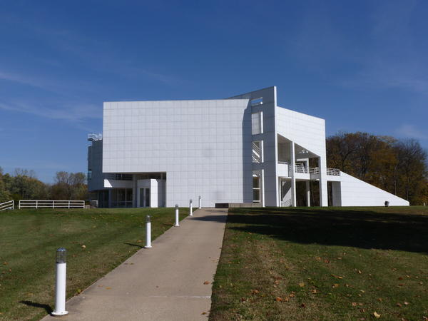 The Atheneum in New Harmony, Ind., serves as a center where visitors can view a film about the former utopian community, see displays and join a walking tour. World-renowned architect Richard Meier designed the building. (photo by Brent Bohlen)