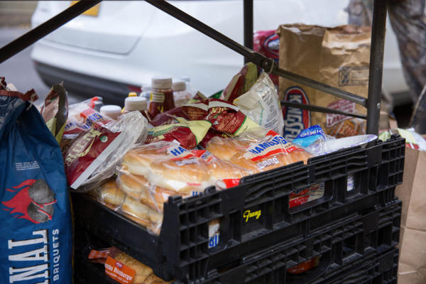 <p>Occupation supporters were well-stocked with hotdogs, buns, chips and charcoal outside the federal courthouse in downtown Portland.</p>