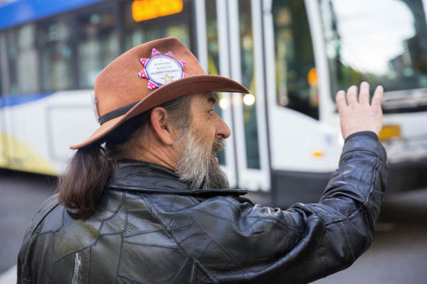 <p>David Zion Brugger speaks with other occupation supporters outside the federal courthouse in downtown Portland.</p>