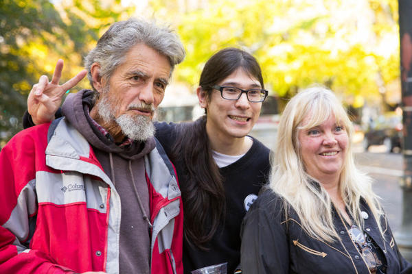 <p>From left, occupiers Neil Wampler, David Fry and Shawna Cox pose for a photo outside the federal courthouse in downtown Portland.</p>