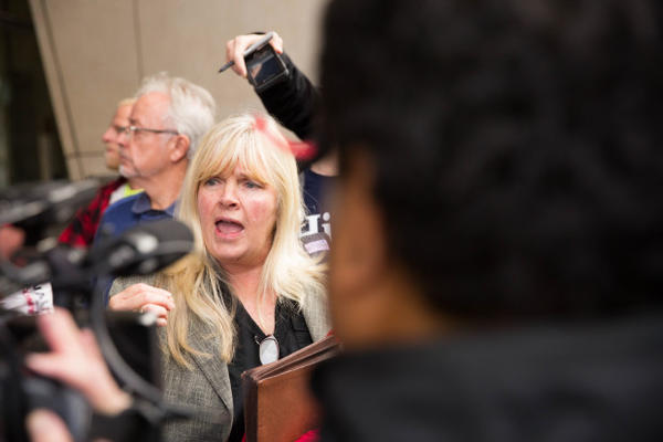 <p>Defendant Shawna Cox answers questions following the not guilty verdict delivered in the trial of her and six other occupiers of the Malheur National Wildlife Refuge.</p>
