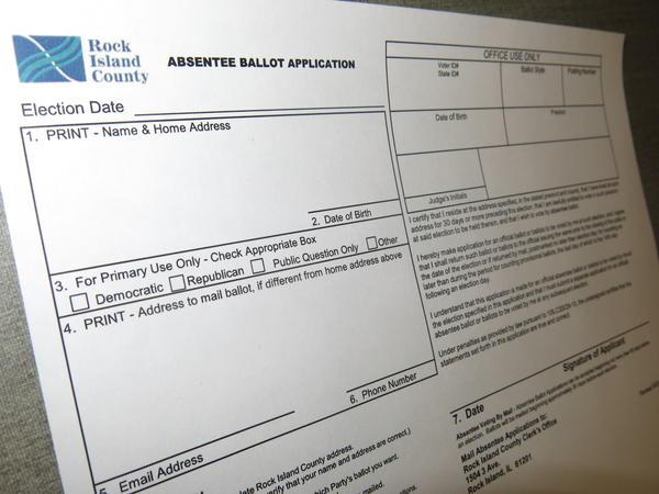 Rock Island County's absentee ballot application