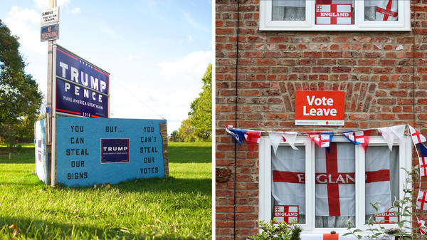 (Left) Donald Trump signs are displayed outside a residence Oct. 22, in Abbottstown, Pa. (Right) English flags and a 'Vote Leave' poster are displayed on a house in Redcar, north east England on June 27, after Britain voted to leave the European Union.