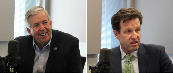 The candidates for lieutenant governor are Republican Mike Parson, left, and Democrat Russ Carnahan.