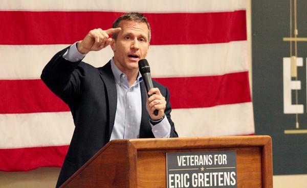 Missouri Republican gubernatorial nominee Eric Greitens gestures during a speech in Overland, Missouri.