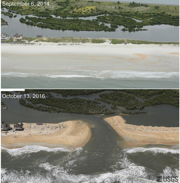 Photos taken before Hurricane Matthew (Sept. 6, 2014, above) and after (Oct. 13, 2016, below) show that the storm cut a new inlet between the Atlantic Ocean and the Matanzas River near St. Augustine, Fla., stripping away a 12-foot dune and carrying sand into the estuary.
