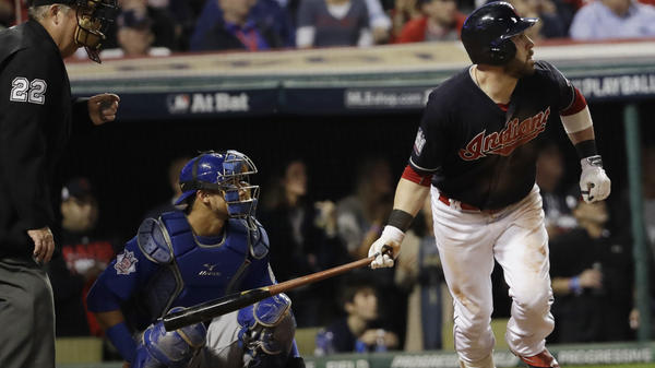 The Cleveland Indians' Jason Kipnis hits a home run during the fifth inning of Game 6 of the World Series.