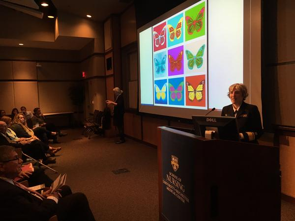 "Dr. Anne Schuchat, principal deputy director of the CDC, during her talk ""Public Health Metamorphasis: On the Road to Butterfly,"" at the University of Rochester Medical Center."