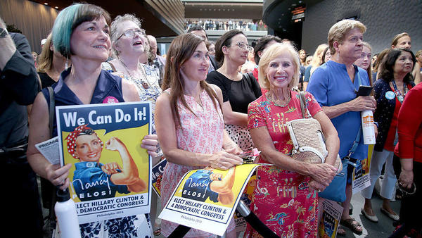 Women attend the EMILY's List Breaking Through 2016 event at the Democratic National Convention in Philadelphia in July.
