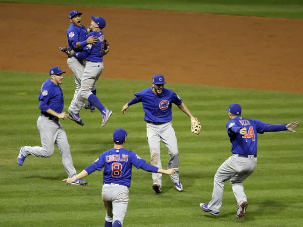 The Chicago Cubs celebrate after Game 7 of the Major League Baseball World Series against the Cleveland Indians.