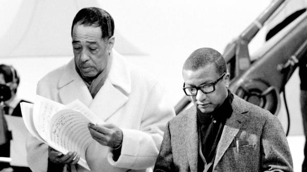 Billy Strayhorn (right), spent the majority of his career as a composer and arranger for Duke Ellington (left) and his orchestra.