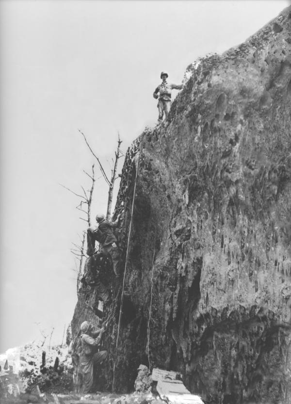 During the battle, Doss (seen here at the top of Hacksaw Ridge) dragged severely injured men to the edge of the ridge and lowered them down to other medics below.