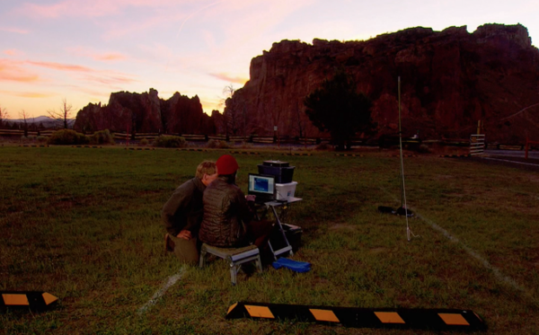 <p>Tom Rodhouse of the National Park Service and retired federal biologist Pat Ormsbee test out equipment to record bat calls at Smith Rock State Park.</p>