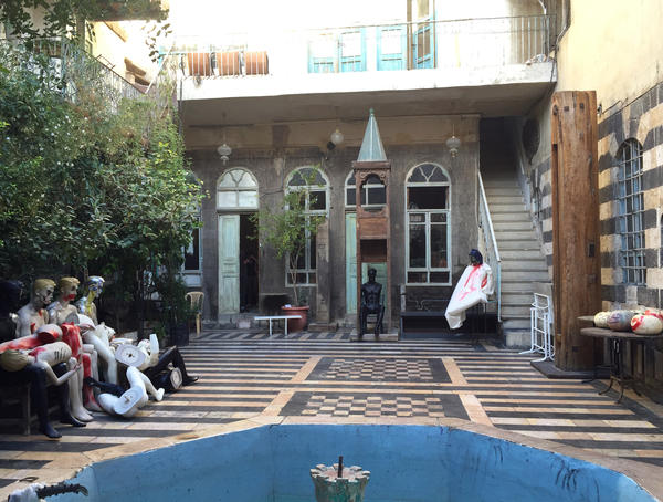 Mustafa Ali's courtyard is constantly busy with artists, musicians and actors. Ali maintains the restored 500-year-old house in the Old City of Damascus as an artist's retreat, a combination gallery, performance space and funhouse. The bloody mannequins were on display for Halloween.